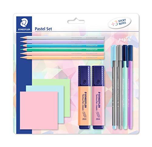 STAEDTLER Pastell Set zum Markieren, Schreiben und Malen, mit Buntstiften, Finelinern, Filzstiften, Textmarkern und 3 Haftnotizblöcken, in hoher Qualität, hergestellt in Deutschland, 61 SBK2 PA