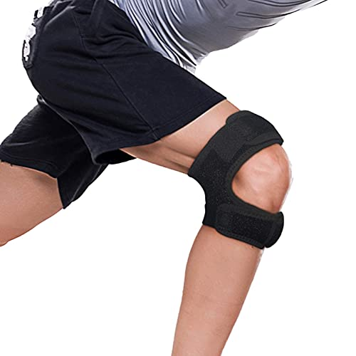 Knee brace Relief Pain & Patella Stabilizer Brace Adjustable Strapping & Breathable Support Running, bowling, Arthritis, Injury Recovery for Man and Woman (Black)