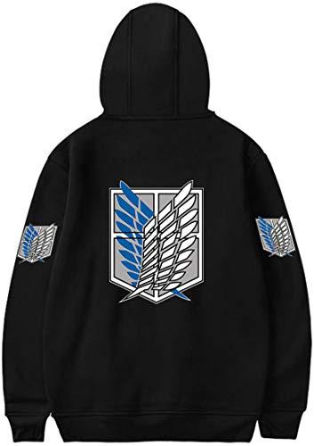 MINIDORA Boys Hoodie Attack on Titan Pullover for Kids Shingeki no Kyojin Printed Sweatshirt for Japanese Anime Fans S,Black 907 C