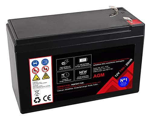 Premium Akku für AGM Blei 12 Volt 7Ah 20 Stunden Batterie Bleiakku Bleigel Wartungsfrei (12V 7Ah 20HR)