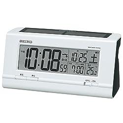Seiko Clock Radio Digital Alarm Clock Radio Clock Hybrid Solar Type Plastic Frame (White Pearl Paint) SQ766W