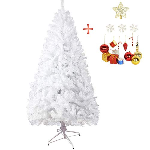 LUCKYERMORE 7 Feet White Artificial Christmas Pine Tree PVC Tip Realistic Natural Branches with Solid Metal Stand & Decoration, 1000 Tips