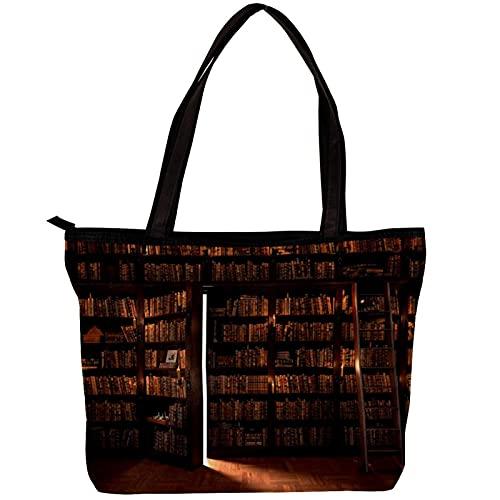 FuJae Damen Canvas Tote Bag Schulter Handtaschen Die Geheimtür im Bücherregal Strandtasche Einkaufstasche für den täglichen Gebrauch auf der Arbeit,auf Reisen