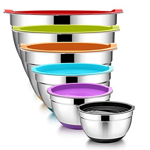 TeamFar Mixing Bowl Set of 6, Stainless Steel Baking Nesting Bowls Set with...