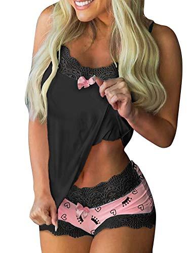 Schlafanzug Damen Sommer Sexy Kurz Pyjama Nachtwäsche Set Ärmellos Trägern Nachthemd Top mit Spitze Shorty Zweiteilige Negligee Sleepwear S-XL (Schwarz, S)