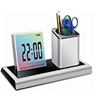 Tiamu デスクのペンホルダー、鉛筆のコンテナー、カレンダーとタイマー付きペンホルダー?コンテナ 液晶デジタル目覚まし時計 デスクの鉛筆ホルダー、オーガナイザー、温度計、カレンダー、家庭用