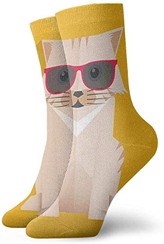Rcdeey Cat llevaba gafas de sol Unisex Cool 3D Print Colorful Athletic Sport Novedad Crew Tube Calcetines