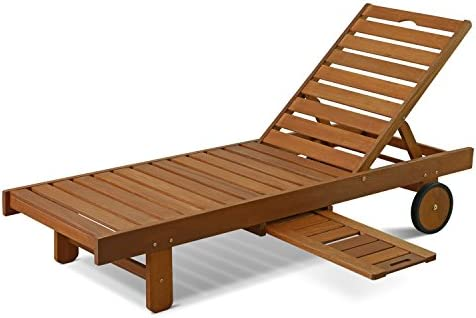Best Furinno FG17744 Tioman Outdoor Hardwood Patio Furniture Sun Lounger with Tray in Teak Oil, Natural