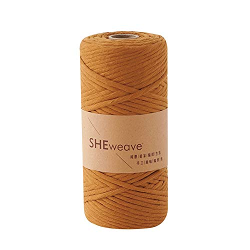 Macrame Cord, Natural Cotton Cord 3mm×100m(About 109yd) Colorful Craft Cord for Jewelry,Wall Hanging, DIY Craft Making,Knitting,Macrame Projects (Brown)