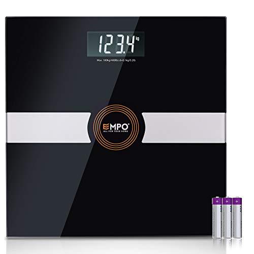 EMPO Balance Premium Pour Salle De Bain - Balance De Mesure de Poids De Haute Exactitude - Affichage Numérique Extra-large, haute contraste - Mesure le poids avec précision et cohérence - Noir