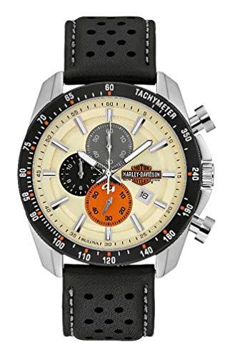 Harley-Davidson Men's Vintage B&S Chronograph Watch w/Leather Strap 78B154
