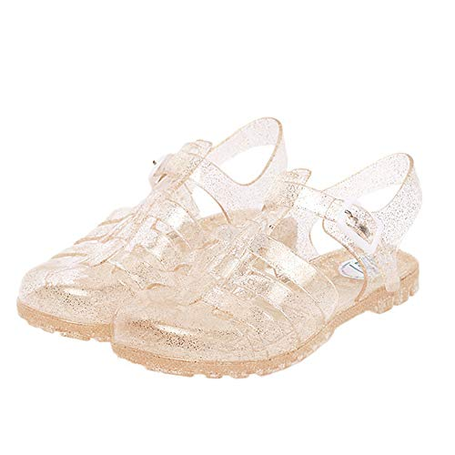 Yehopere Women's Jelly Sandals T-Strap Slingback Flats Clear Summer Beach Rain Shoes Gold