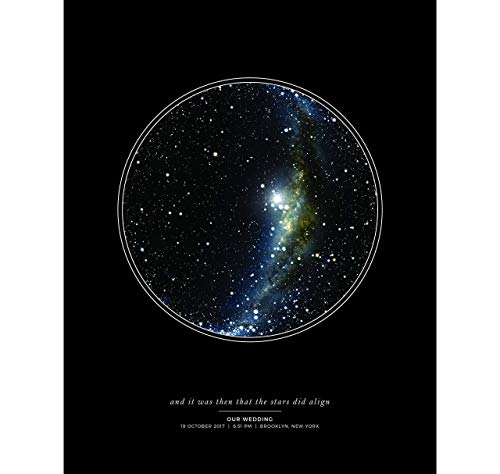 Custom Personalized Night Sky Star Map Poster, Unframed Print with Black Background