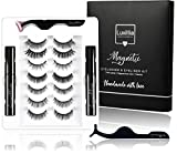 Luxillia By Amazon 8D Magnetic Eyelashes with Eyeliner Kit Free Applicator and Brush - Most Natural Look Lashes Set, 3x Stronger Eyelash Magnets, Reusable False Lash, Waterproof Liquid Eye Liner (7 SETS EDITION WITH 2 LINERS)