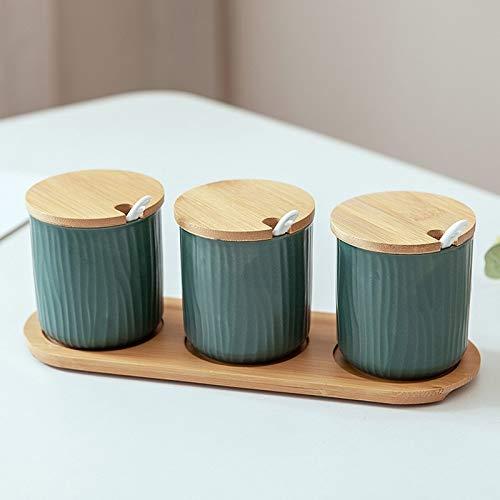 SMEJS Nordic Ceramic Kitchen Seasoning Pot Dreiteiliges Set mit Holztablett Einfache Salzzucker-Pfefferdose Chicken Seasoning Chicken Essence Box
