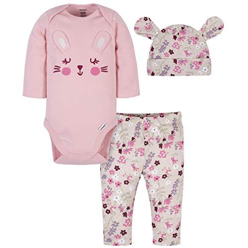 Gerber - Conjunto de 3 Piezas para bebé, Estampado de Conejo Rosa, 12-18 Meses