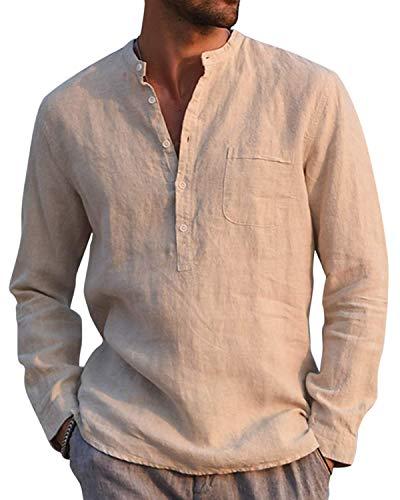 Gemijacka Hemd Herren Langarm Henley Leinenhemd Herren Freizeithemd mit Brusttasche Regular Fit Men Shirts, Beige, L
