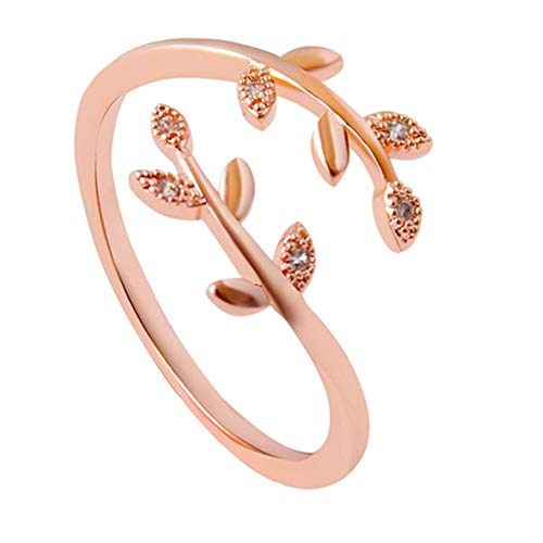 Rose Gold Leaf Ring Open Adjustable Rings Zinc Alloy Olive Leaf Ring with Crystals ,Girls Womens Jewellery Gifts (Rose Gold)