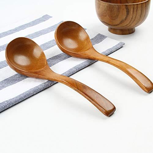 Egurs 18,5 x 6 cm grote houten lepel soeplepel kinderlepel, natuurlijk hout, veilig, 2 stuks