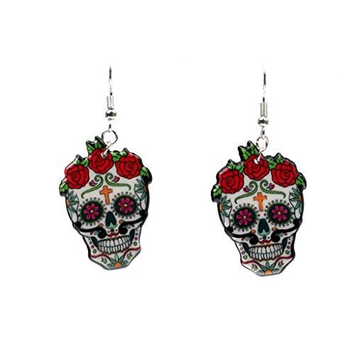 CADANIA Hooks Sugary Calavera Schädel Ohrringe Feiern Sie den mexikanischen Tag der Toten Halloween Acryl Niedlichen Halloween Schädel Ohrring