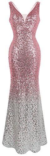 Angel-fashions Damen Pailletten V-Ausschnitt Ballon Gatsby Flapper Abendkleid (M, Rosa Silber)