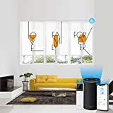 Customized Printing and Size Motorized Blinds with Remote Control (23-90 inches) Wireless Rechargeable Motor Work with Alexa (for Living Room)