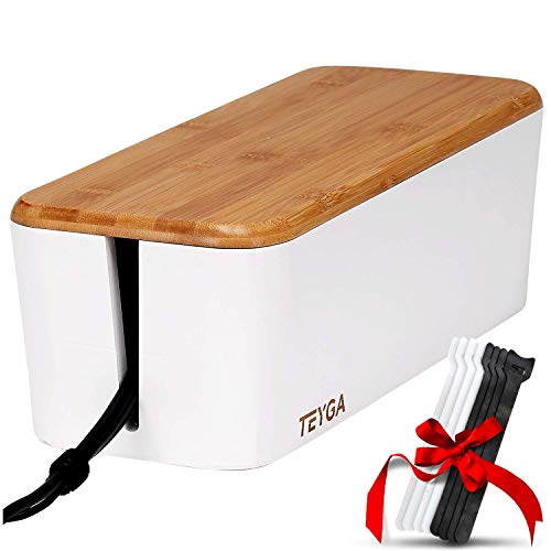TEYGA Bamboo Cable Management Box - Stylish Cord Organizer Box Hides Power Strip and Keeps Cords Untangled - Surge Protector Cover Keeps Children Safe - TV Cord Box for Home and Office