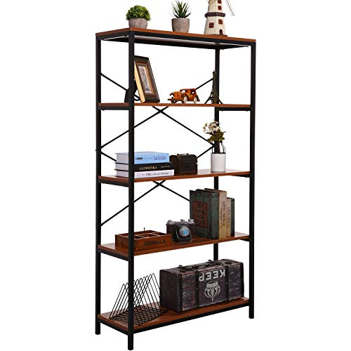 shaofu 5-Tier Industrial Style Bookshelf and Bookcase, Vintage 5-Shelf Industrial Bookshelf Furniture (US Stock) (4 - Tiers)