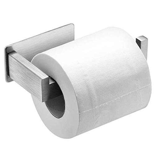 Auxmir Toilettenpapierhalter ohne Bohren, Klopapierhalter Edelstahl Papierhalter Selbstklebend für Badezimmer Toilette Küche, Rostfrei, Silber