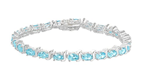Tuscany Silver Sterling Silver Blue Topaz Tennis Bracelet of 19cm/7.5'