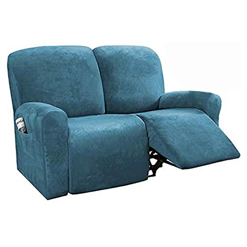 6-Pieces Recliner Sofa Covers Velvet Stretch Sofa Slipcover Couch Covers for 2 Cushion Sofa Slipcovers Furniture Covers with Elastic Bottom Soft Washable-Peacock_blue