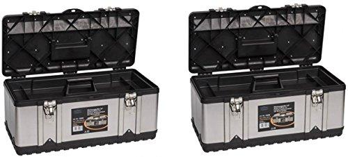 2 Stück XXL Werkzeugkoffer PROFI 23 aus Edelstahl mit robustem Kunststoff-Rahmen und herausnehmbaren Werkzeugträger. Mit Metallverschlüssen, abschließbar. Maße: 58,2 x 29,8 x 25,5 cm