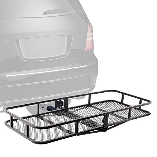 XCAR Folding Hitch Mount Luggage Cargo Basket Trailer Cargo Carrier 60' L x 24' W x 6' H Universal for Cars, Trucks, SUV's Hatchbacks with 2' Hitch Receiver