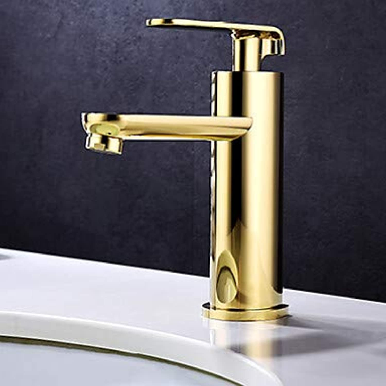 Mangeoo Bathroom Sink Faucet - Widespread Ti-Pvd Centerset Single Handle One Holebath Taps