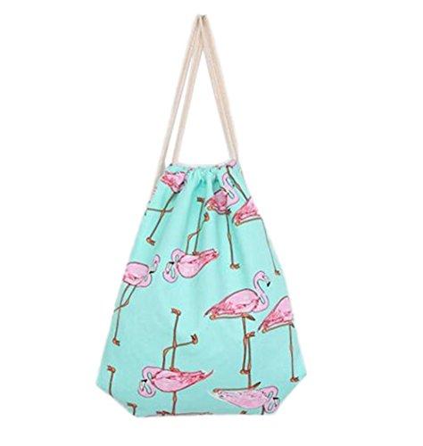 LAMEIDA Drawstring sac à dos Multi-fonction sac Flamingo motif Sac à bandoulière pliable Portable pour l'école étudiant femme