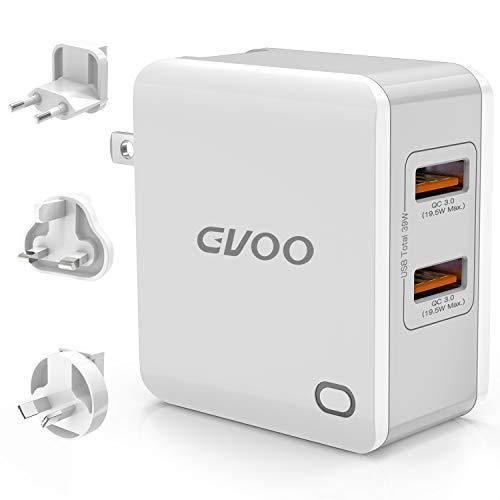 Quick Charge 3.0 USB cargador, Gvoo Qualcomm Certified 39W, 2 puertos QC 3.0 Fast Wall Cargador Adaptador de viaje universal con tecnología iSmart para iPhone, iPad, Android, Samsung Galaxy y Tablet