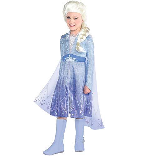 Party City Frozen 2 Elsa Travel Halloween Costume for Girls, Disney, Small (4-6), Includes Dress