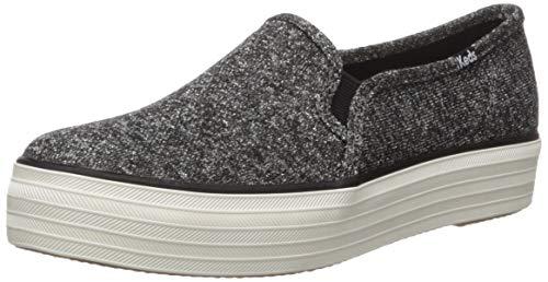 Keds Women's Triple Decker Sparkle Jersey Shoe, Black, 5.5 M US
