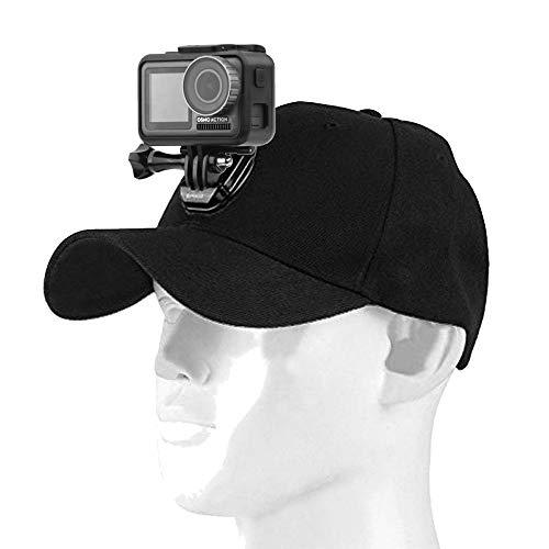 Linghuang Baseball Cap voor DJI Osmo Pocket/Osmo Action Camera, Baseball Camera Houder Hoed met Quick Release J-Hook Buckle Mount & Screw, Verstelbare One Size Past Allemaal - Zwart