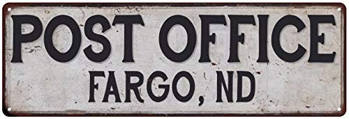 Fargo, Nd Post Office Sign Postal Signs City Rustic Retro Vintage Decor Decorations Rustic Tin Wall Art Plaque Mailman Gift 8 x 24 Matte Finish Metal 108240011221