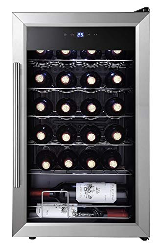 Mini Fridge, Kalamera 24 Bottle Wine Refrigerator - Mini Wine Cooler, Single Zone, with Glass Door for Red, White, Champagne - 41°F to 64°F - for Home, Office or Bar.