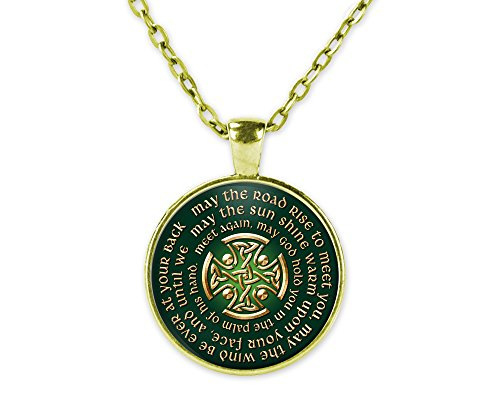 May The Road Rise Up to Meet You - Irish Blessing Celtic Cross Pendant Necklace with Chain