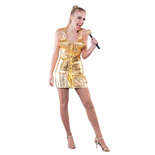 Aptafêtes - CS926209/M - Costume Reine de La Pop - Taille unique- Or