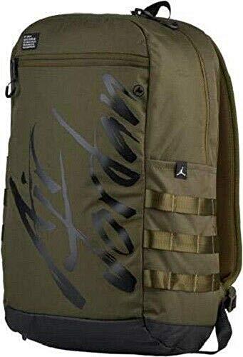 Nike Air Jordan Script Laptop Sleeve Backpack Dark Green/Black 9A0174 (Large)