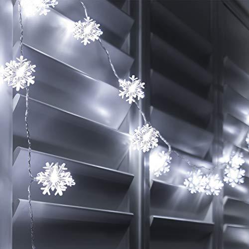 GloBrite 40 LED White Snowflake Battery Powered Indoor Fairy String Light Christmas Decoration Tree