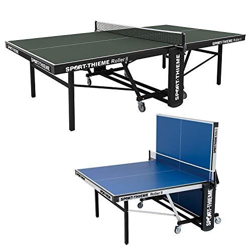 Sport-Thieme Tischtennistisch Roller II | Wettkampftisch nach DIN-Norm | Roll- und klappbar | Grün u. Blau | Indoortisch 155x69,5x152,5 cm | Höhenverstellbar | Markenqualität