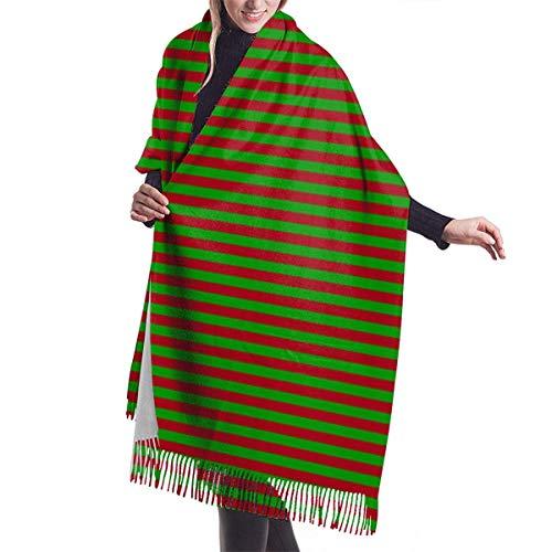 AOOEDM Quarter Christmas Verde y rojo oscuro Rayas horizontales (cuatro a una) Chal Wrap Winter Warm Scarf Cape Large Soft Cozy Cashmere Bufanda Womans Warm Shawl Stola