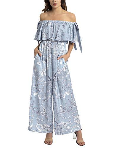 APART Damen Druckoverall aus matt glänzendem Satin, hellblau-Creme, 40