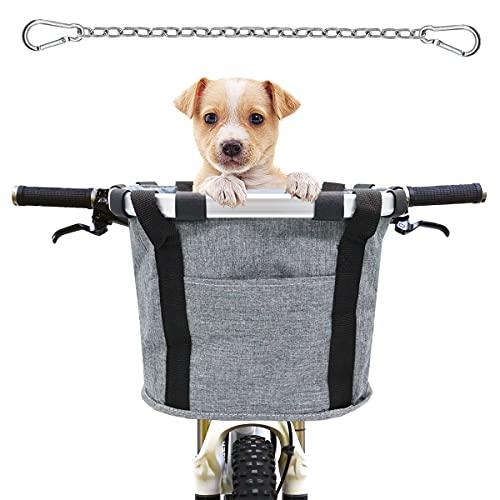 MATTISAM Cesta de Bicicleta Plegable con Cinturón de Seguridad para Perro, Canasta de Bicicleta de Liberación Rápida, Bolsas de Bicicleta, Bolsas para Manubrio de Bicicleta para Mascota, Compras