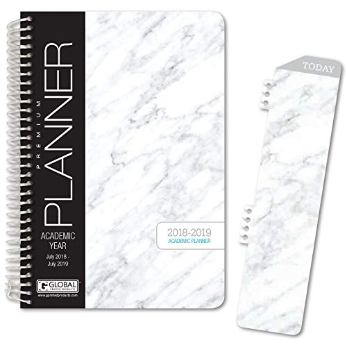 Best Planner 2018 Agenda for Productivity, Durability and Style. 5x8 Daily Planner/Weekly Planner/Monthly Planner/Yearly Agenda. HARDCOVER Organizer with Bookmark and Journal (Grey Marble)
